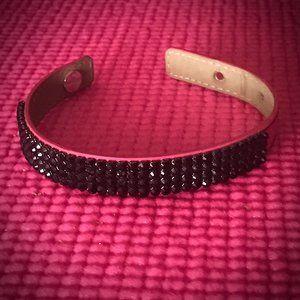 Swarovski Magenta Leather Bracelet +Black Crystals